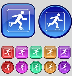 roller skating icon sign A set of twelve vintage vector image