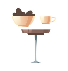 round coffee table white cup and cookies bowl vector image