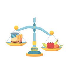 scales balance fast food and healthy nutrition vector image