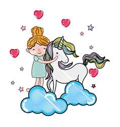 scribbled happy girl hugging cute unicorn vector image