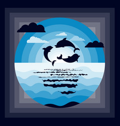 Sea dolphins origami paper cut blue seaside vector