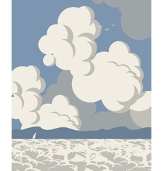 Seascape with clouds vector