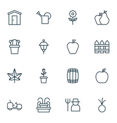Set of 16 agriculture icons includes bailer vector