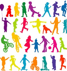 Set of colored silhouettes of active children vector