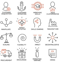 Set of icons related to business management - 7 vector