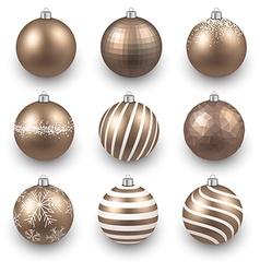 Set of realistic gold christmas balls vector