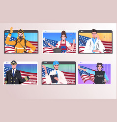 Set people different occupations with usa flags vector