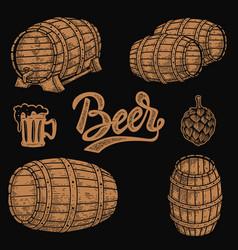 set wooden barrel beer beer mug hop in vector image