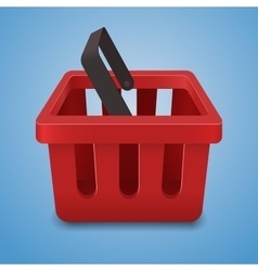Shopping basket icon on blue background vector