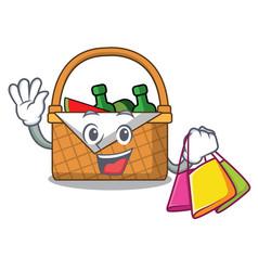 Shopping picnic basket character cartoon vector