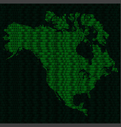 silhouette of north america from binary digits vector image vector image
