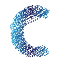 Sketched letter c vector