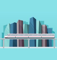 skytrain subway on backdrop city vector image