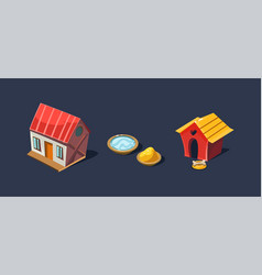 Small house and doghouse village and farm objects vector