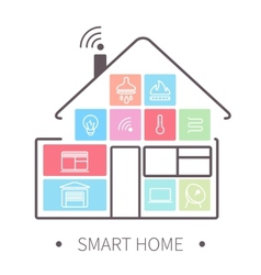 Smart home outline icon vector