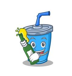 Soda drink character cartoon with beer vector