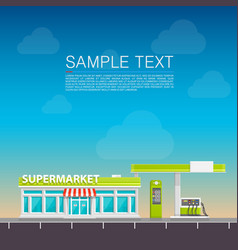 supermarket on the roadside vector image