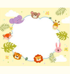 template with cartoon cute wild animals vector image