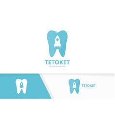 tooth and rocket logo combination dental vector image