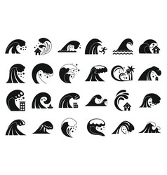 Tsunami icons set simple style vector