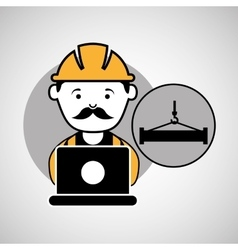 Under construction laptop worker hook tool vector