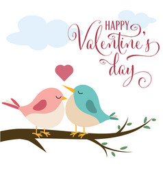 valentines day card with cute birds in love vector image