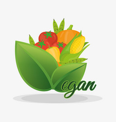 vegan healthy nutrition fruits and vegetables vector image