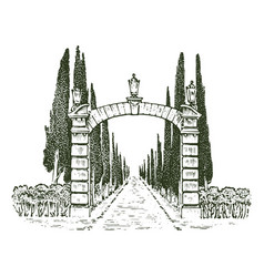 vintage gates victorian doors or an ancient arch vector image