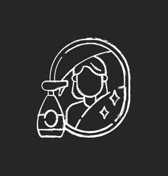 Wiping mirror chalk white icon on black background vector