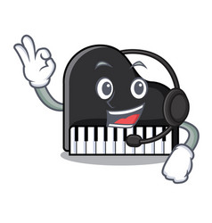with headphone piano mascot cartoon style vector image
