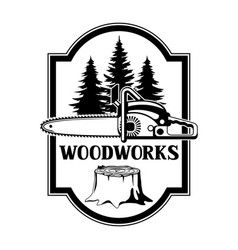 Woodworks label with wood stump and sawemblem for vector