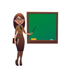 young female teacher with pointe on lesson at vector image