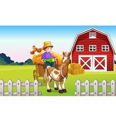 A boy at the farm vector image