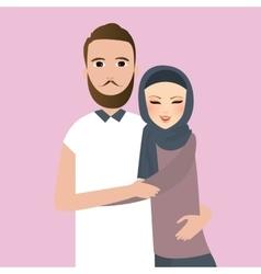 Islam couple married man woman wear veil scarf vector image vector image