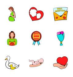 mom congratulations icons set cartoon style vector image