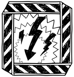 doodle danger electric shock vector image vector image