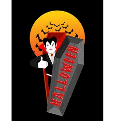 Halloween typography Dracula in his coffin Logo vector image vector image