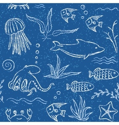 Sealife hand drawn seamless pattern vector image vector image