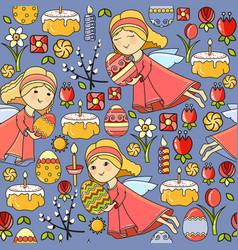 seamless pattern with easter icon on blu vector image vector image
