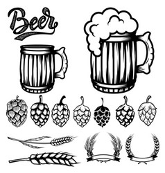 set of components for beer labels design beer vector image