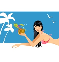 Beautiful woman on the beach with cocktail vector image