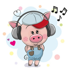 cute cartoon pig with headphones vector image vector image