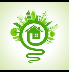 eco cityscape with light-bulb and home icon vector image