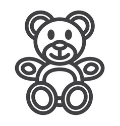 Teddy bear line icon plush toy and baby vector
