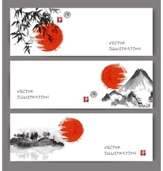 Banners with red sun bamboo mountains and island vector image vector image