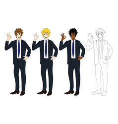 Business man showing ok hand sign vector
