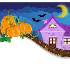 Halloween pumpkins near the brick house vector image vector image