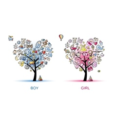 Heart shaped trees design for baby boy and girl vector image vector image