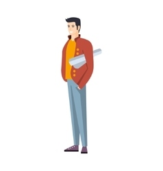 Man In Jeans And Red Jacket With Roll Of Project vector image