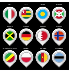 Map marker with flag-set seventh vector image